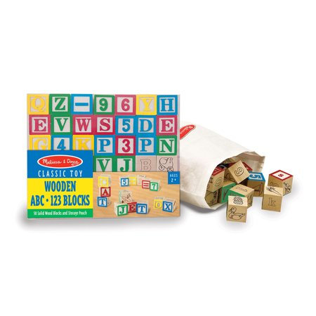Wooden ABC/123 Block Set, 50 pcs (Wooden Letter Blocks)
