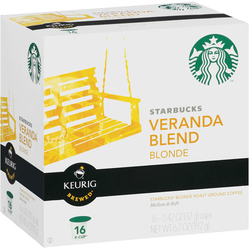 Starbucks Blonde Ground Coffee Keurig K-Cups, Veranda Blend, 16ct