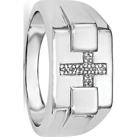 Sterling Silver Rhodium Diamond Cross Signet Ring Diamond Shape Signet Ring
