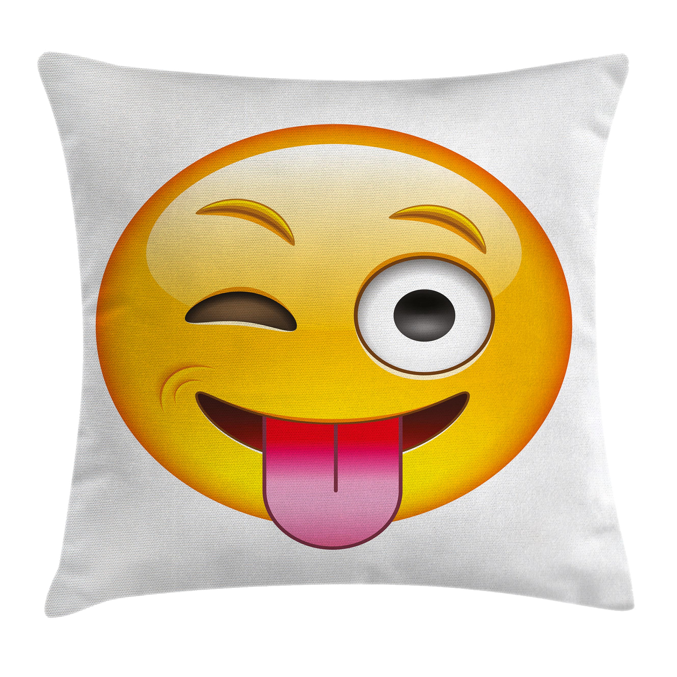 Emoji Throw Pillow Cushion Cover, Cartoon like Technologic Smiley Flirty Sarcastic Happy Face with Tongue Modern Print, Decorative Square Accent Pillow Case, 16 X 16 Inches, Yellow, by Ambesonne