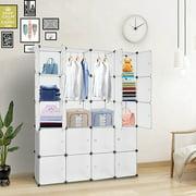 Mgaxyff 20 Storage Organizer Plastic Cubby Shelving Drawer Unit DIY Modular Bookcase Closet System, Bookcase, Drawer Unit