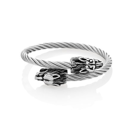 Bypass Cuff (Stainless Steel Wolf Bypass Cable Cuff Bracelet (24mm) -)