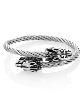 Stainless Steel Wolf Bypass Cable Cuff Bracelet (24mm) - 9