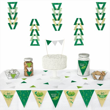 Double the Fun - Twins Two Peas in a Pod - Triangle Baby Shower or First Birthday Party Decoration Kit - 72 Piece - Double Nickel Birthday
