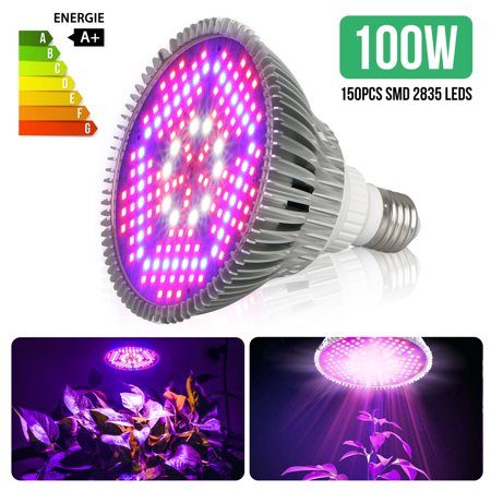 100W E27 LED Grow Light Bulb, Plant Lights Full Spectrum for Indoor Plants Hydroponics, Flowers Tobacco Garden Greenhouse and Organic