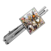 Pet Animals Selfie Dogs Cats Rabbit Hamster Guinea Pig Square Tie Bar Clip Clasp Tack- Silver or Gold