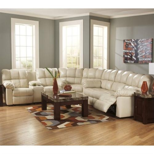 Ashley Furniture Kennard 3 Piece Leather Reclining Sectional In Cream