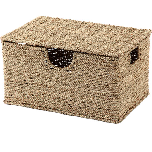 Mainstays Lidded Light Seagrass Basket