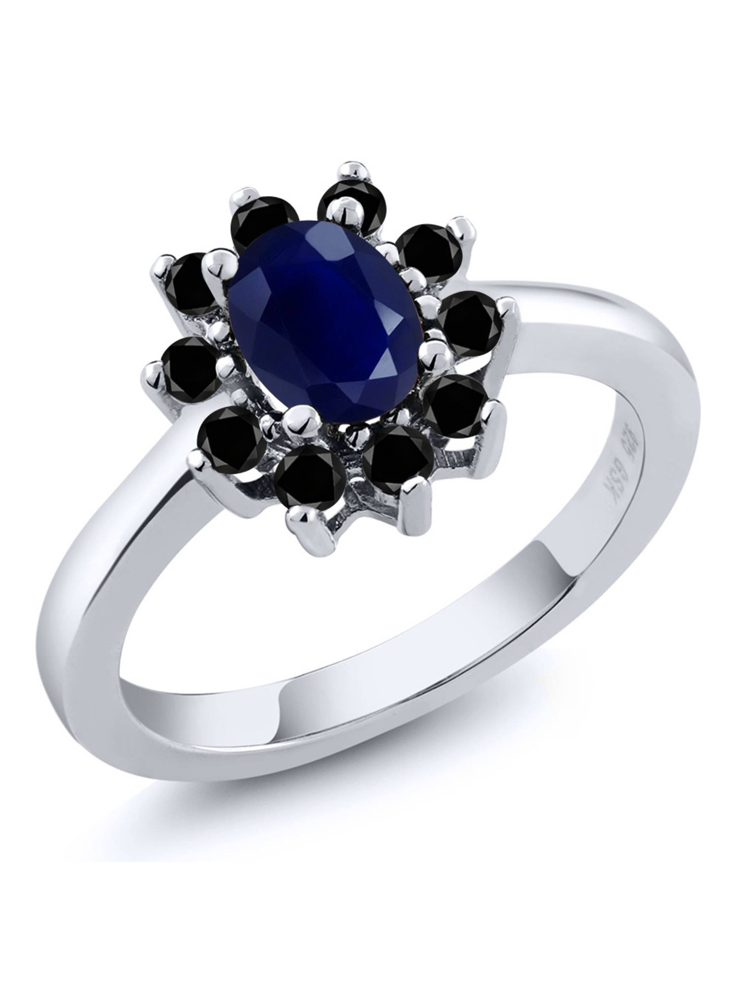 1.35 Ct Oval Blue Sapphire Black Diamond 925 Sterling Silver Ring by