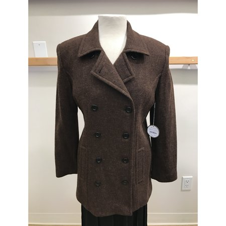Womens Brown Tweed - Brown Wool Tweed Double Breasted Outerwear Jacket Peacoat (Style# 9220F7)