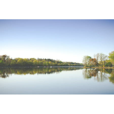 Horizon Trees (LAMINATED POSTER Lake Reflection Horizon Sky Water Trees Nature Poster Print 24 x 36 )