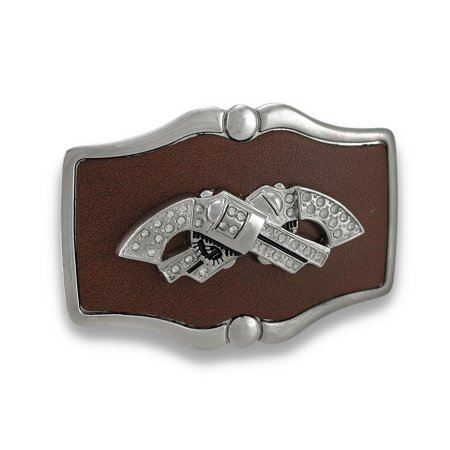 Chrome and Brown Leather Crossed Rhinestone Revolvers Belt (Best Revolver For Ankle Carry)