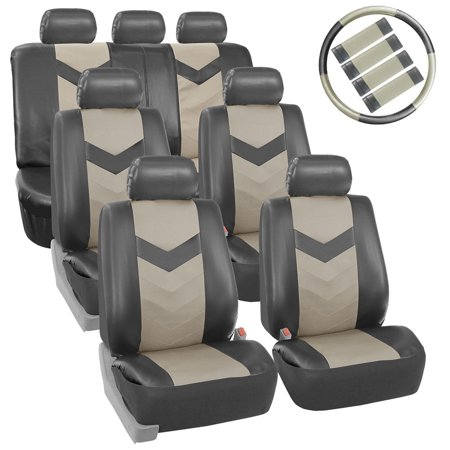 FH Group Synthetic Leather Auto Seat Cover, 7 Seater SUV VAN Full Set With Steering and Belt Pads, 2 Tone Gray