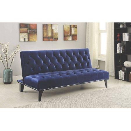 Coaster company royal blue sofa bed walmartcom for Royal blue sofa bed