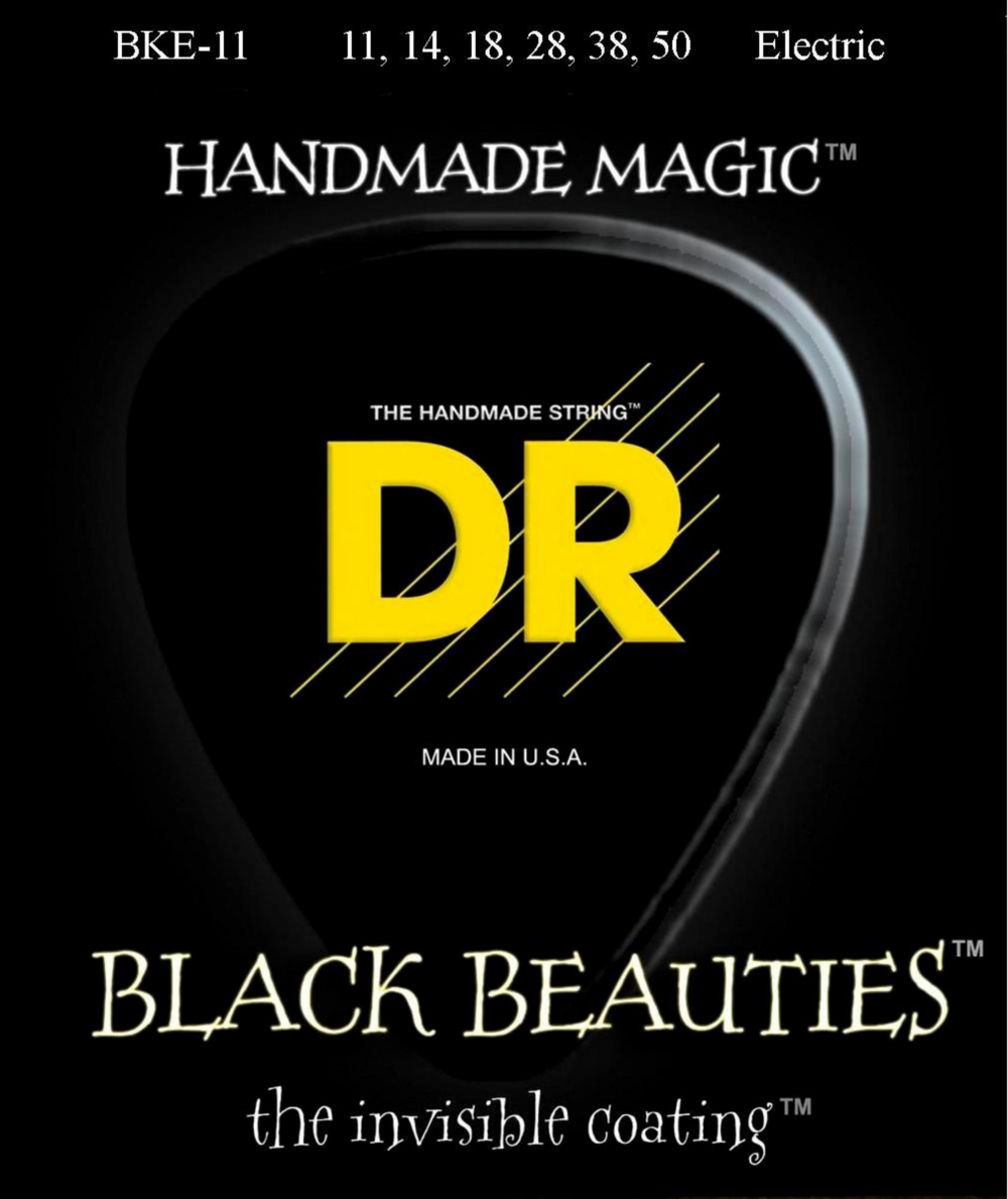 DR Strings Extra Life BKE-11 Black Beauties Heavy Coated Electric Guitar Strings by DR Strings