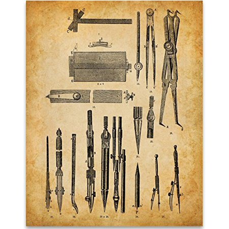 Architect Gift - Drafting Tools - 11x14 Unframed Art Print - Great for Living Room Decor or Gift to Architects and Engineers