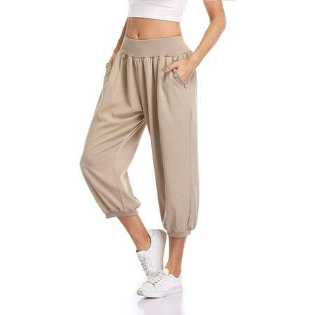 MISS MOLY Women's Capri Pants Loose Fit Sweatpants Jogger Workout Yoga Pants with Pockets Khaki XL