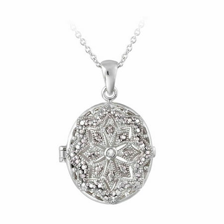 White Diamond Oval Necklace (Diamond Accent Silver-Tone Filigree Oval Locket Necklace)