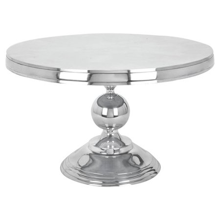 Decmode 30 X 19 Small Traditional Style Metallic Silver Round Coffee Table