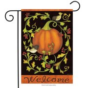 "Pumpkins and Vines Fall Garden Flag Chickadees Welcome Autumn 12.5"" x 18"""