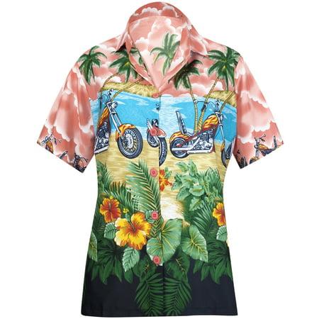 Women Hawaiian Shirt Blouses Beach Top Tank Casual Aloha Boho Holiday Boyfriend