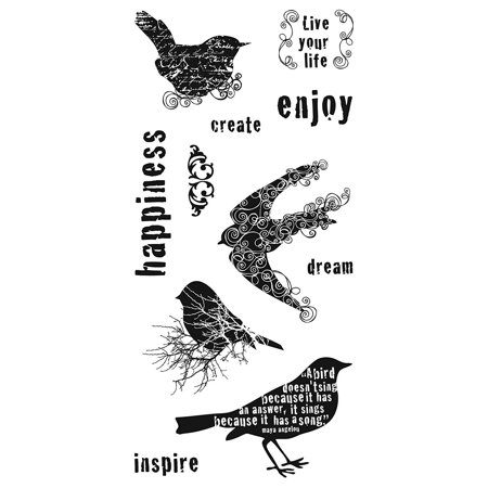 01-005525 4-Inch-by-8-Inch Clear Stamp, For the Birds, Clear stamps cling to any of our stamp plates, and can be easily arranged, re-arranged, saved.., By Fiskars - Fiskars Embossing Plates