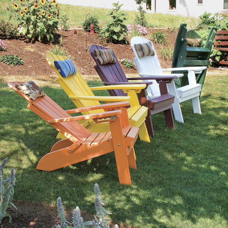 A & L Furniture Recycled Plastic Folding And Reclining Fanback Adirondack Chair