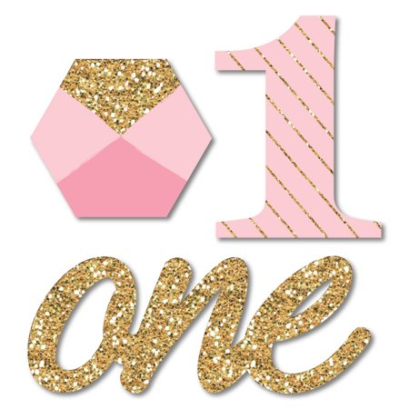 1st Birthday Girl - Fun to be One - Shaped DIY First Birthday Party Small Cut-Outs - 24 Count - First Birthday Party Ideas Girl