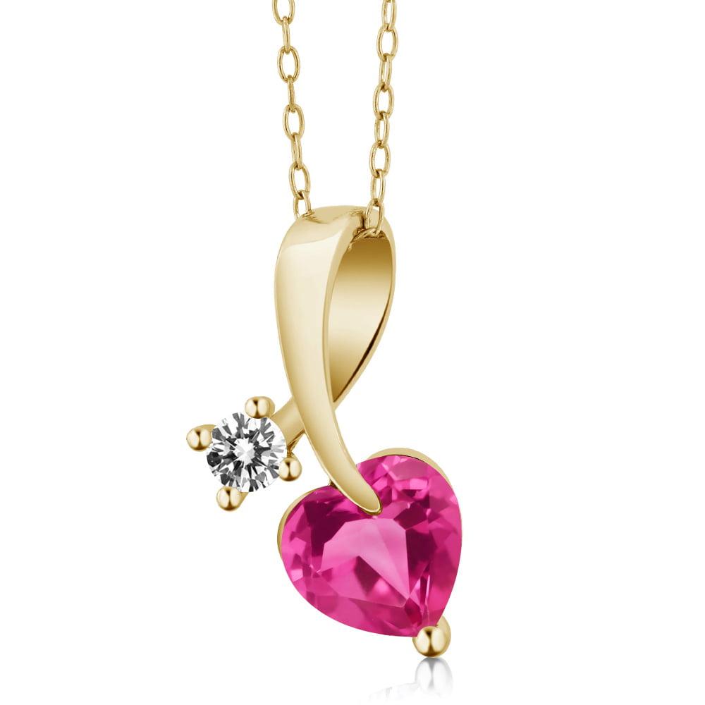 1.50 Ct Heart Shape Pink Created Sapphire White Diamond 14K Yellow Gold Pendant by