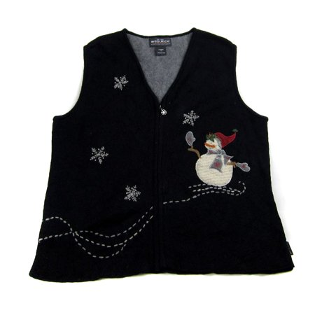 Ugly Sweater Vest (XVEST-2496 - Black - Ugly Christmas Sweater Vest - Ladies -)