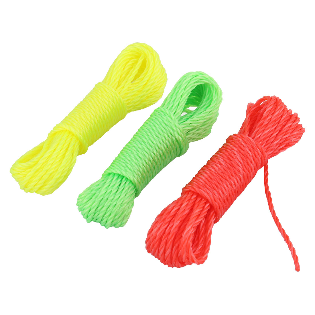 Outdoor Nylon Twisted String Clothesline Clothes Rope Assorted Color 10m 3 Pcs