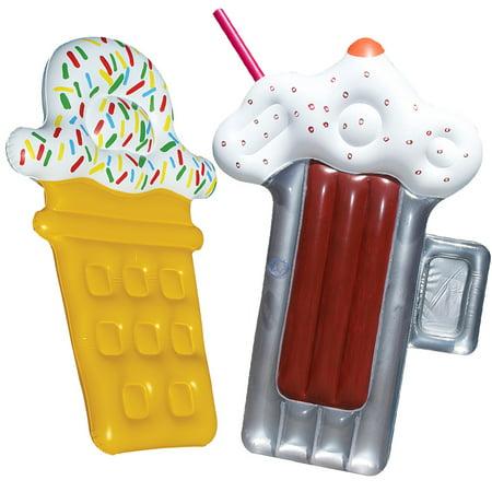 Swimline Root Beer Mug Float Inflatable Pool Toy Raft + Ice Cream Pool
