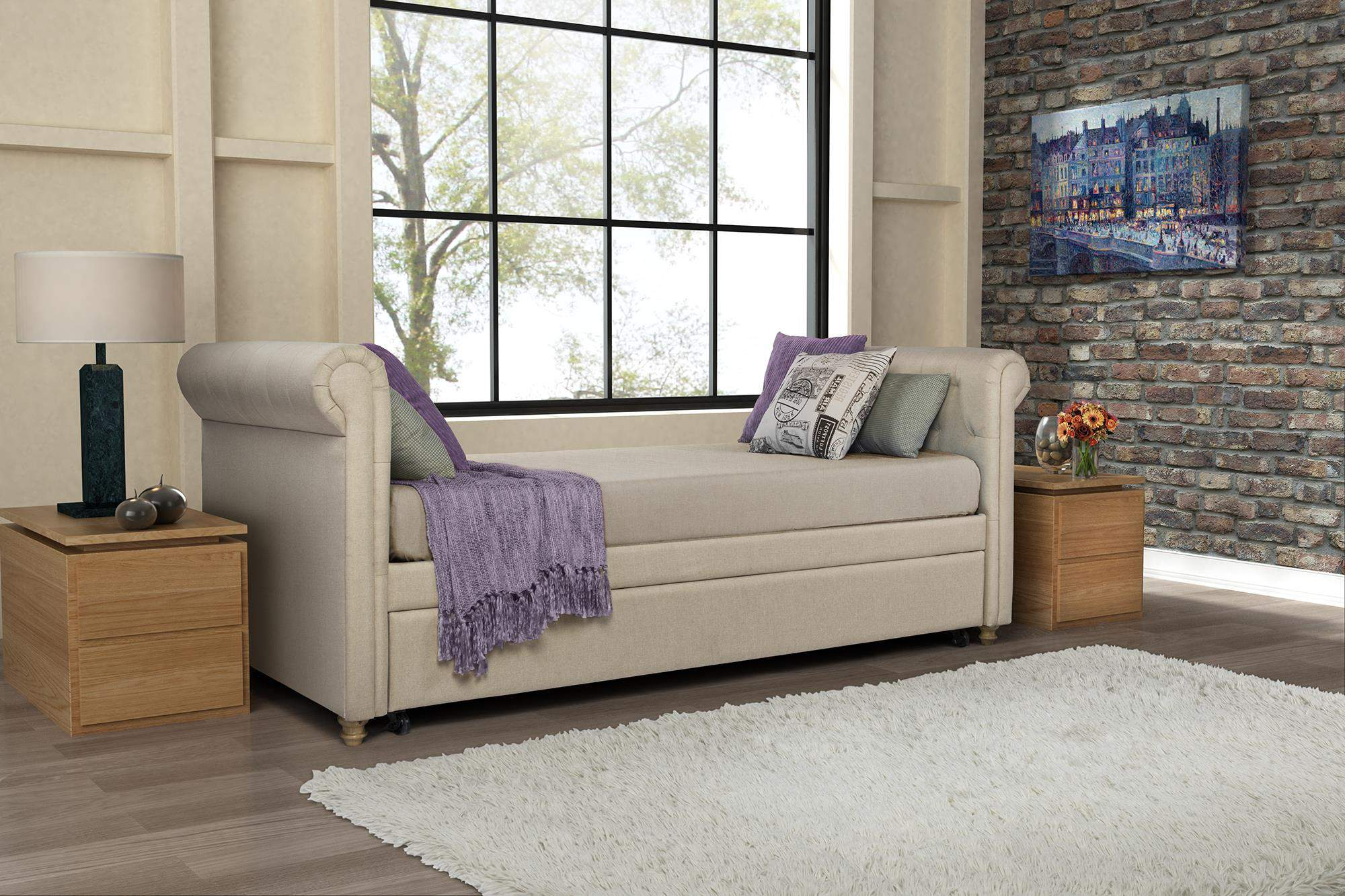 DHP Sophia Upholstered Daybed And Trundle, Multiple Colors