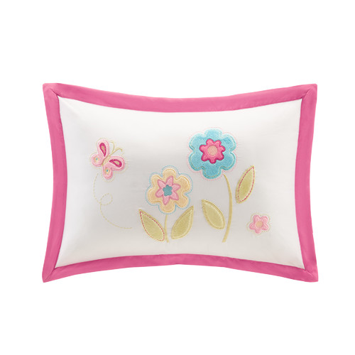Zoomie Kids Alexis Plush Floral Applique and Embroidered Throw Pillow