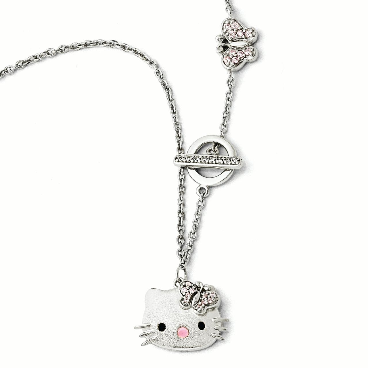 Sterling Silver Hello Kitty Pink Swarovski Elements Butte...