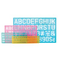 Westcott Lettering Stencils, Assorted Sizes and Colors, Set of 4