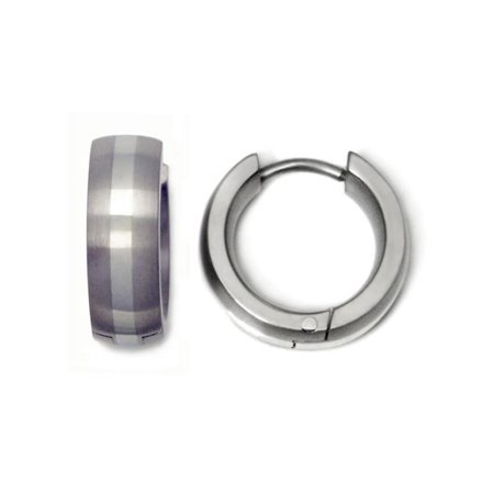 Titanium Kay Titanium 14K White Gold Inlay 14mm Brushed Finish Chrome Color Hinge with Notched Post Huggie Hoop Earrings