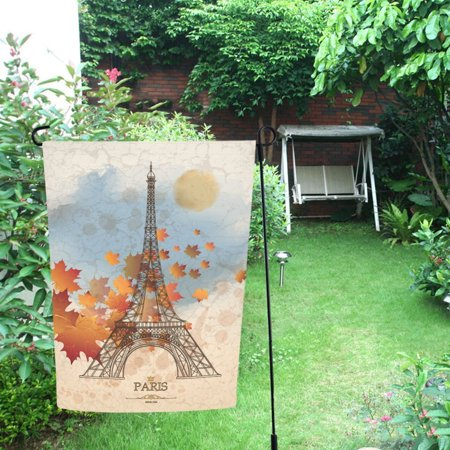 MYPOP Maple Leaf and Eiffel Tower Garden Flag Outdoor Flag Decoration 12x18 inches ()