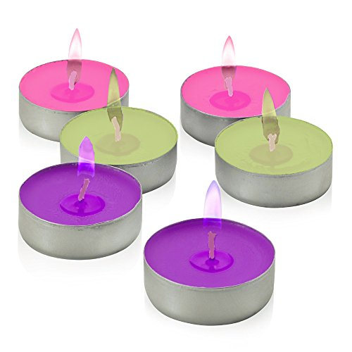 Decor Hut Colorflame Tea Candles, Colored Flame, Glows Bright Candles to Enhance Your Party Evening and Cakes! Great for Every Occasion!