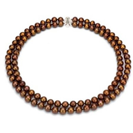 """Image of Chocolate Freshwater Pearl Necklace for Women, Sterling Silver 2 Row 17"""" & 18"""", 8mm x 9mm"""