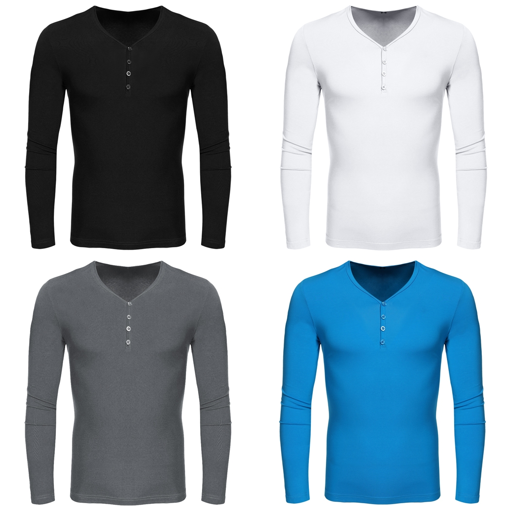 COOFANDY Men Casual Basic V-Neck Long Sleeve T-Shirt Cotton Swearter Tops