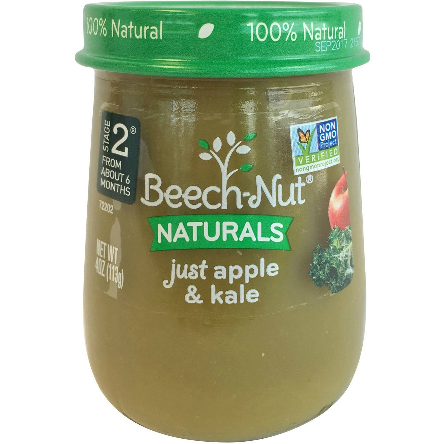 (10 Pack) Beech-Nut Naturals Just Apple & Kale Stage 2 Baby Food, 4.0 oz