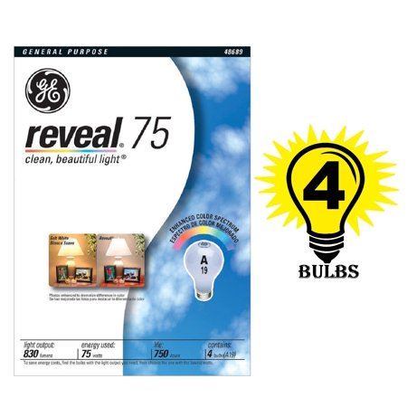 GE 48689 75 WATT REVEAL LIGHT BULBS 1 PACK OF 4 INCANDESCENT BULBS ()