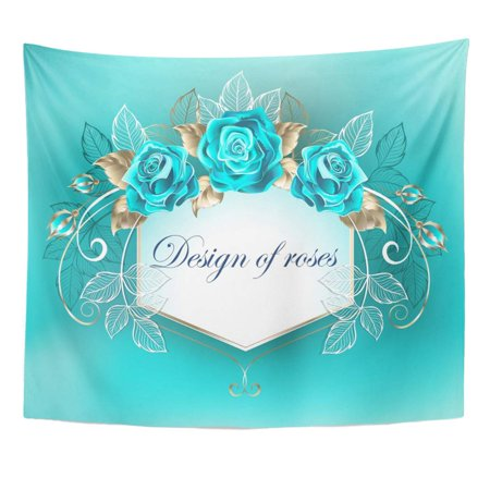 ZEALGNED Bouquet Blue Best White Decorated with Turquoise Roses Leaves Gold on Bloom Brocade Wall Art Hanging Tapestry Home Decor for Living Room Bedroom Dorm 51x60 (Best Decorated Dorm Rooms)