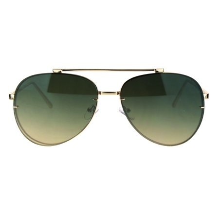 Oceanic Gradient Lens Rimless Luxury Designer Fashion Aviator Sunglasses Green Brown