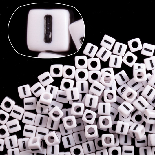 Letter I White Acrylic Cube Alphabet Beads 7mm 50Gram/209pcs