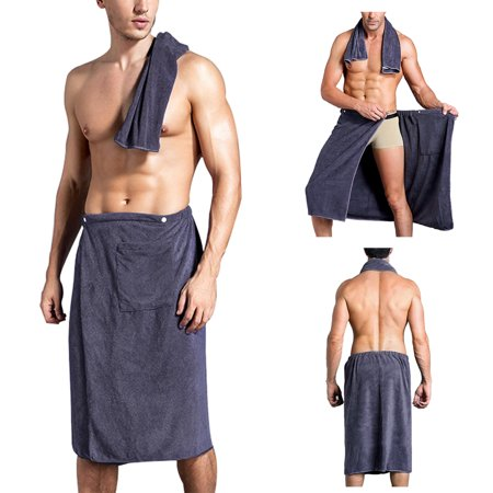 Bath Towel, Justdolife Snap Closure Elastic Spa Swimming Wrap Shower Wrap with Towel for Men Kids on Sale - Childrens Swimming Towels