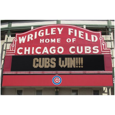 Chicago Cubs Wrigley Field Win MLB Baseball Sports Poster 34x22
