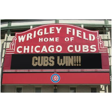 Chicago Cubs Wrigley Field Win MLB Baseball Sports Poster (Wrigley Field Metal)