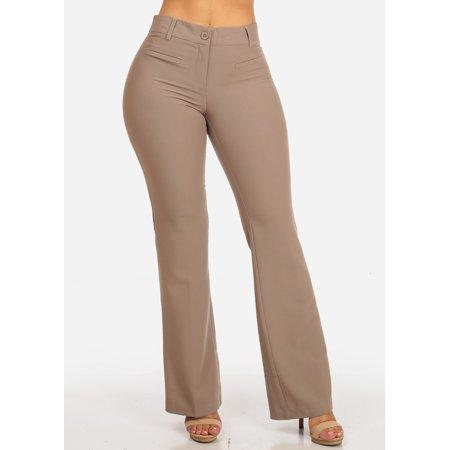 Womens Juniors Evening Wear Career Office Work Wear Mid Rise 1 Button Flared Leg Bootcut Solid Khaki Beige Dressy Pants 10036R